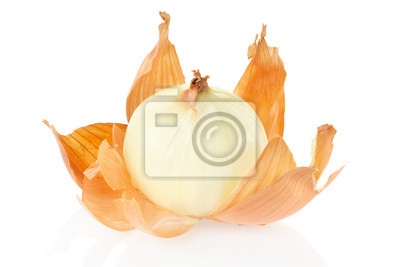 Wall mural Onion peeled on white background, clipping path included