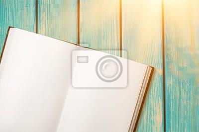 Open blank notebook on  background