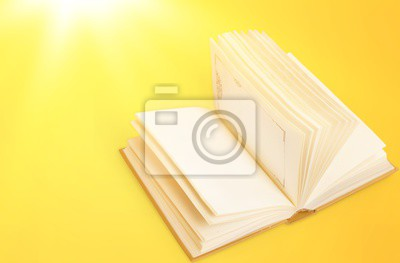 Open blank notebook on white background