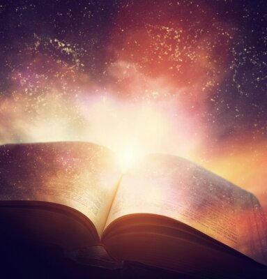 Wall mural Open old book merged with magic galaxy sky, stars. Literature, horoscope