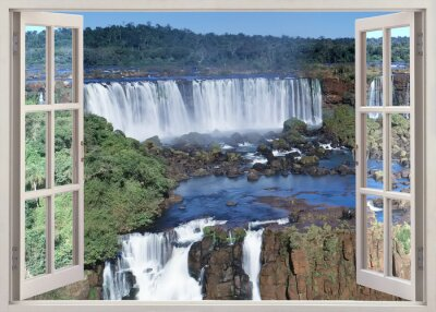 Wall mural Open windoq panoramic vuew to Iguacu falls, Brazil