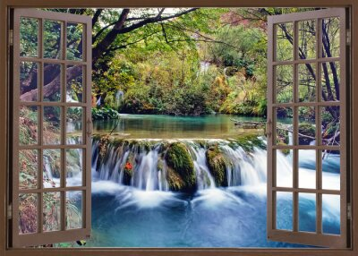 Wall mural Open window to water stream