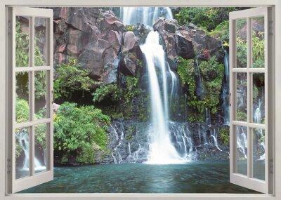 Wall mural Open window view to Cormoran waterfall, Reunion island
