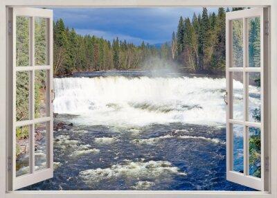 Open window view to Dawson Falls, Canada