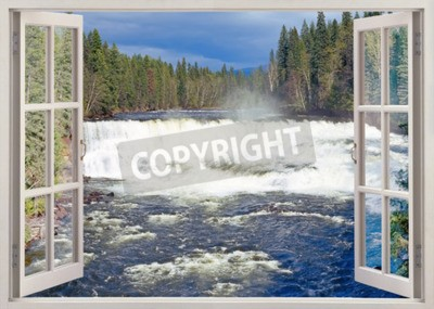 Wall mural Open window view to Dawson Falls, Murtle River, Wells Gray Provincial Park, British Columbia, Canada