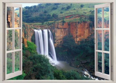 Open window view to Elands River Falls, South Africa