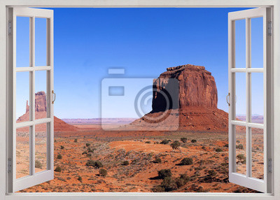 Open window view to famous Monument valley