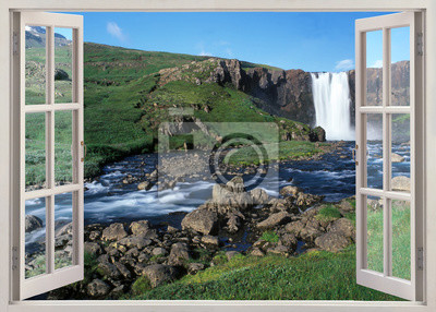 Open window view to huge waterfall and river