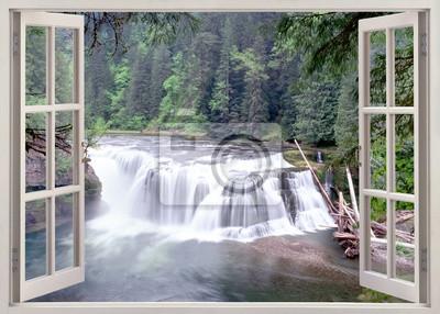 Open window view to  Lower Lewis Falls, WA