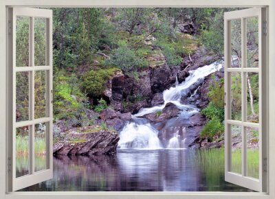 Wall mural Open window view to mountain waterfall and pond