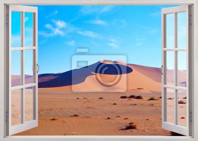 Open, window view to Namib sand desert