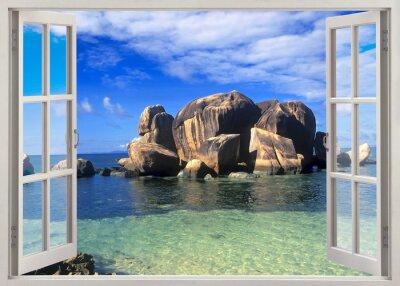Open window view to shore of Seychelles