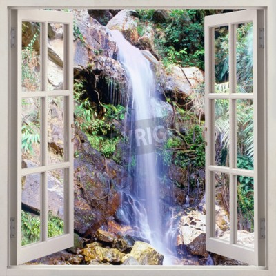 Wall mural Open window view to small water cascade