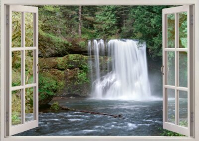 Wall mural Open window view to Upper Notrh Falls and river