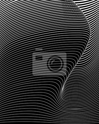 Wall mural optical art abstract background wave design black and white