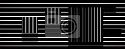 Wall mural optical art square line vector, op art, black and white
