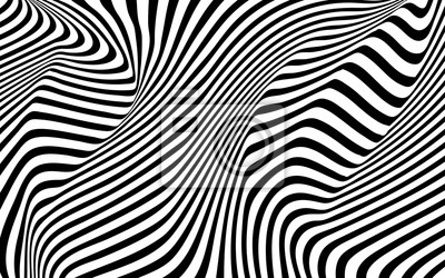 Wall mural optical art wave abstract background black and white
