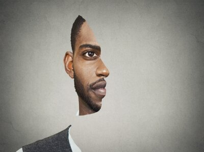 Wall mural Optical illusion portrait front with cut out profile of man