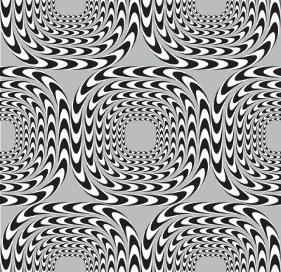 Wall mural Optical Illusion, Vector Seamless Pattern Background, Squares Mo