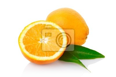Wall mural Orange fruit with clipping path