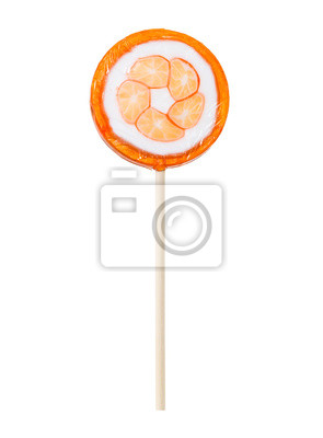 Wall mural Orange lollipop isolated on white