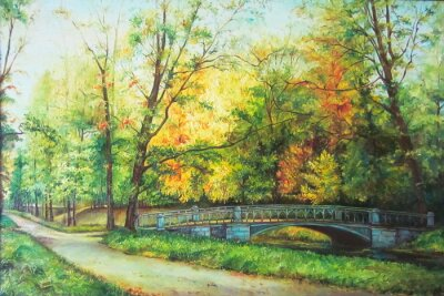 Wall mural Original oil painting The bridge in the forest