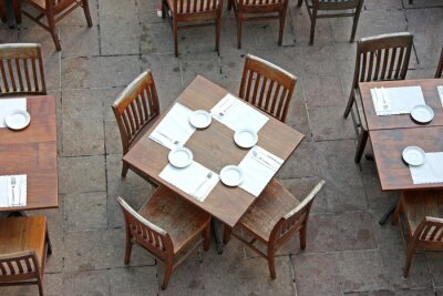 Overhead view of casual dining restaurant
