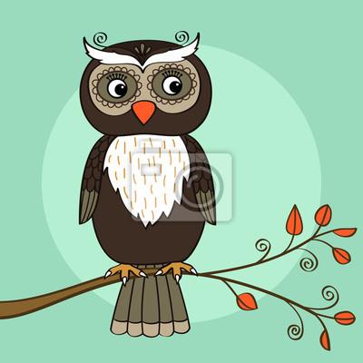 Wall mural owl tree
