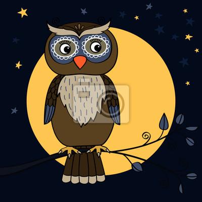 Wall mural owl tree moon