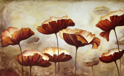 Wall mural Painting poppies canvas