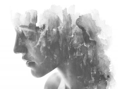 Wall mural Paintography. Double exposure. Close up of an attractive model combined with hand drawn ink and watercolor painting with overlapping brushstroke texture, black and white