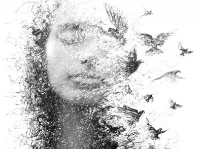 Wall mural Paintography. Double Exposure portrait of an elegant woman with closed eyes combined with hand made pencil drawing of a flock of birds flying freely resembling disintegrating particles of her being