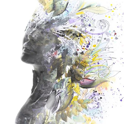 Wall mural Paintography. Portrait of a woman combined with a painting