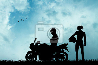 pair of motorcyclists silhouette
