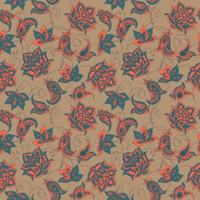 Wall mural paisley seamless pattern