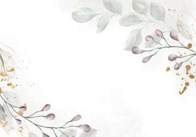 Wall mural Pale watercolor leaves on white background - vertical botanical design banner. Floral pastel watercolor, vintage style