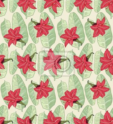 Wall mural Palm Tropical leaf flower pattern