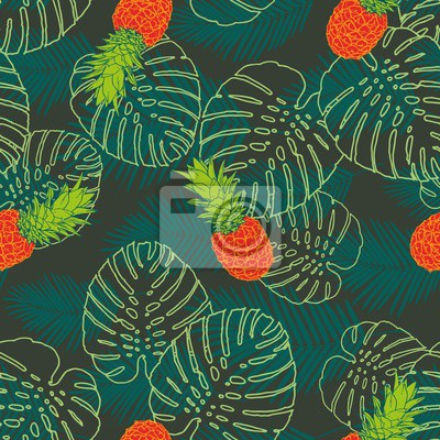 Wall mural Palm Tropical leaf fruit pattern