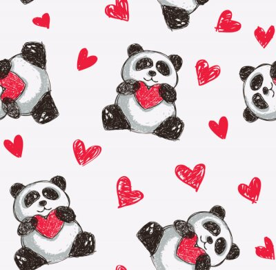 Wall mural panda holding heart seamless background