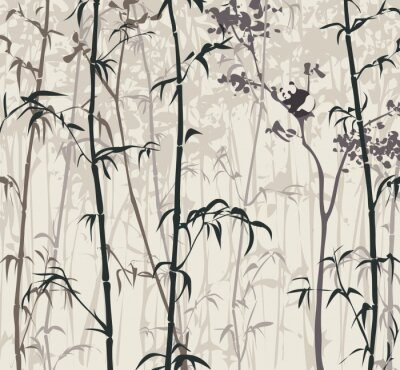 Wall mural Panda in the Bamboo Forest