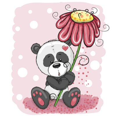 Wall mural Panda with flower