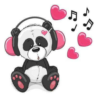 Wall mural Panda with headphones