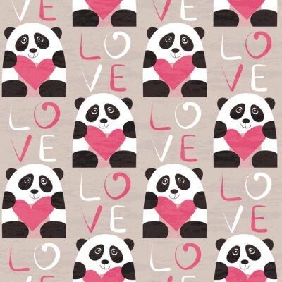 Wall mural Panda with heart seamless pattern