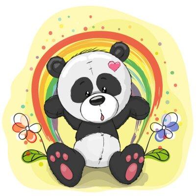 Wall mural Panda with rainbow