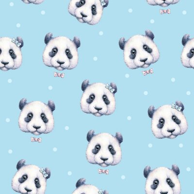Wall mural Pandas on light blue background. Seamless pattern. Watercolor drawing. Children's illustration. Handwork