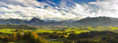 Wall mural Panorama Landschaft in Bayern mit Berge der Alpen und Forggensee im Allgäu