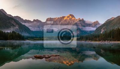 Panorama of a beautiful mountain lake in the Italian Julian Alps-Laghi di Fusine