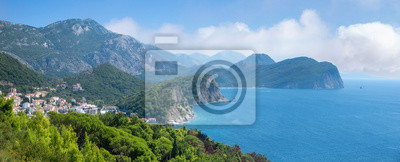 panorama of coastal cliffs and mountains in the Budva area of Montenegro