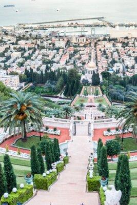 Panorama of Haifa - port, Bahai gardens and modern buildings at sunset, Israel