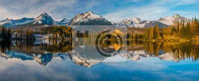 Panorama of high resolution mountain lake Strbske Pleso in Slovakia, lake in winter scenery